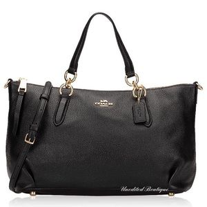 COACH Leather Satchel Handbag In Black Leather